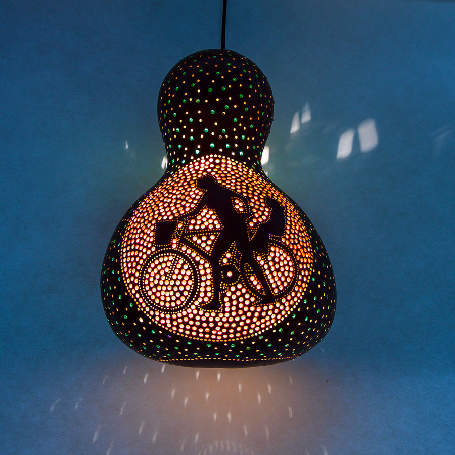 Pumpkin Lamp - Man & Woman on Bicycle