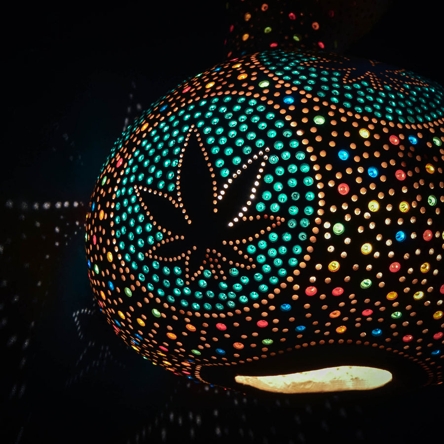 "Pumpkin lamp ""Pot leaves"""