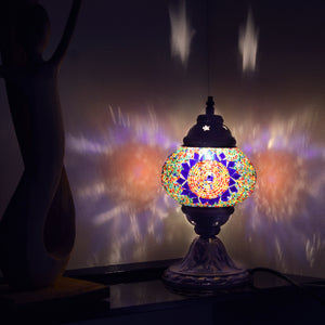 Multicoloured Beaded Mosaic Lamp with Blue Stained Glass Sun Pattern