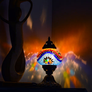 Blue and Orange Beaded Stained Glass Mosaic Lamp with Six-Point Star Pattern
