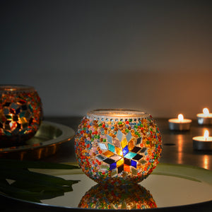 gorgeous candle holder with colorful stained glass mosaic