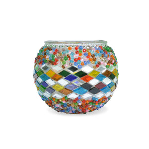 Colourful Bohemian Stunning Turkish Beaded Candle Holder Stained Glass Diamonds