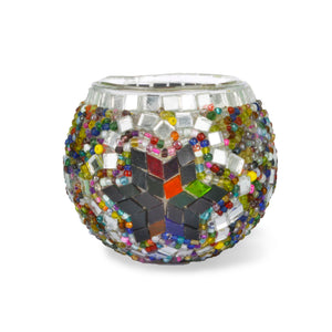 multicolored mosaic candle holder | home decor