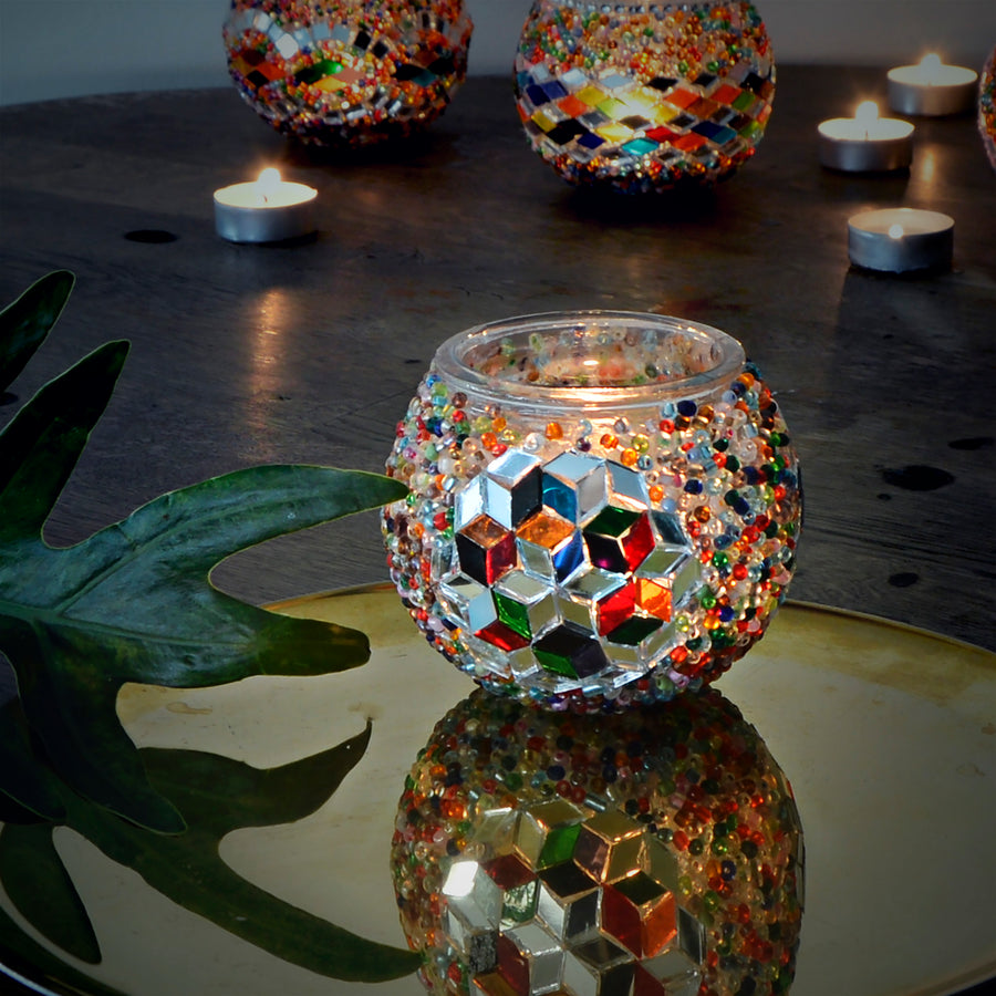mosaic candle holder | handmade turkish glass candle holder
