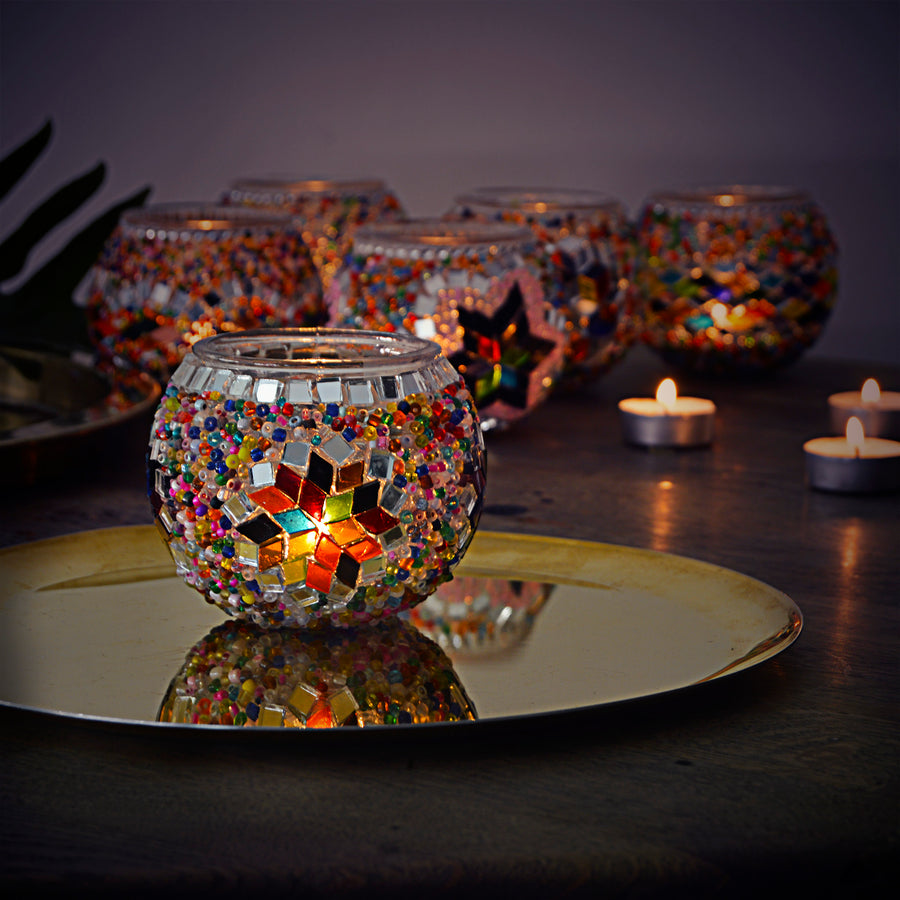 Beautiful, handmade Turkish beaded candle holder with a stained glass star pattern.