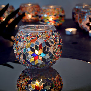colorful mosaic stained glass beautiful Turkish handmade candle holder