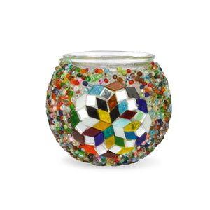 Mixed Colours Beaded Stained Glass Candle Holder Handmade in Turkey Lost in Amsterdam Original Souvenir