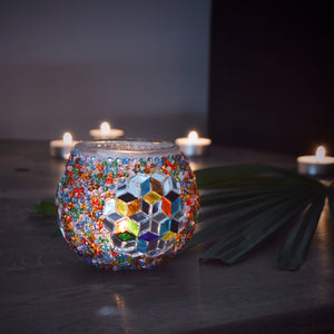 Stunning mosaic candle holder | handmade