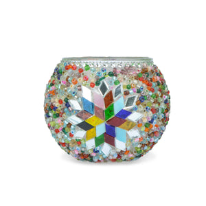 Mosaic candle holder with star symbol