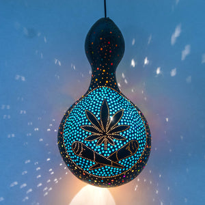 Pumpkin Lamp - Cannabis Leaf and Two Joints