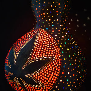 Pumpkin Lamp - Cannabis Leaf