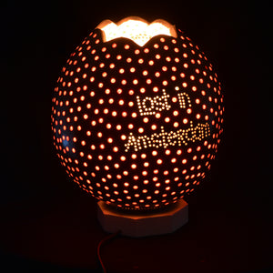 Side lamp - carved pumpkin lamp - A Couple
