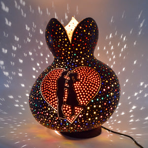 Large Side lamp - carved pumpkin lamp - A Couple in Love