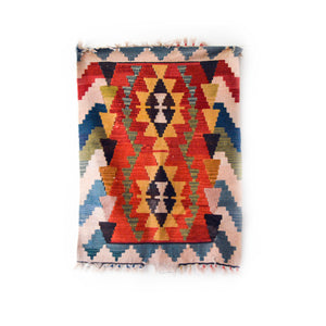 wool kilim | Turkish vintage rug | burdock motif | double flower rug
