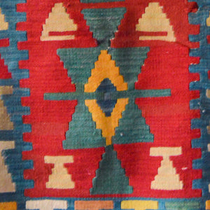 motifs on Turkish rug | eye protection motif | red Anatolian kilim