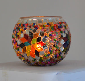 Colourful Beaded Candle Holder with Stained Glass Star | 1527