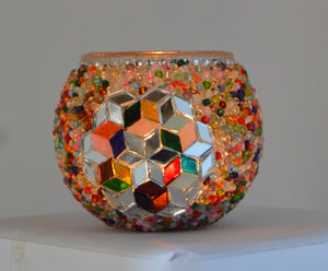 Mixed Colours Beaded Glass Candle Holder