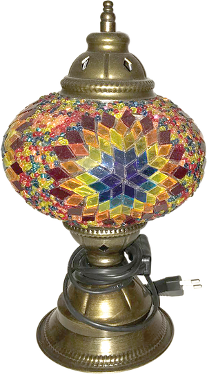 Yellow Mosaic Glass Lamp