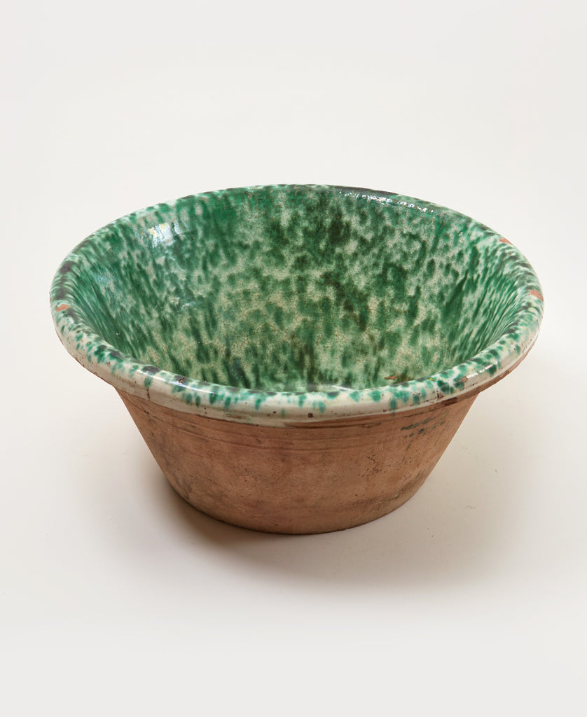 Large Basin with Green Splatter Glaze - Il Buco Vita
