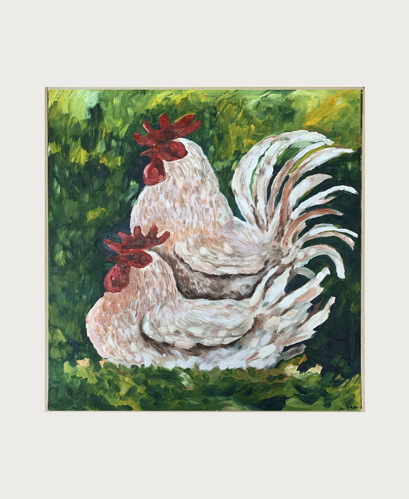 Due galli nell'erba (Two Roosters in the Grass)