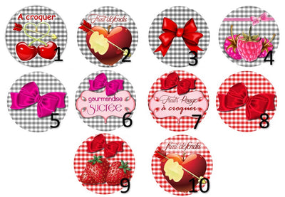Cabochon en verre fruits rouges