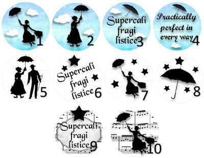 Cabochon en verre Mary poppins