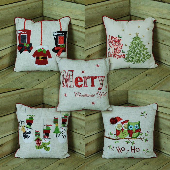 40cm x 40cm Christmas Design Cushion With Embroidered Text - Choice of 4 Designs