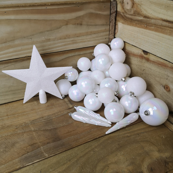 33 Assorted Shatterproof Christmas Baubles With Star Tree Topper - White