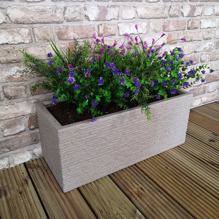 Stone Coloured Slate Effect Trough Garden Planter 60cm W x 25.5cm H x 25cm D