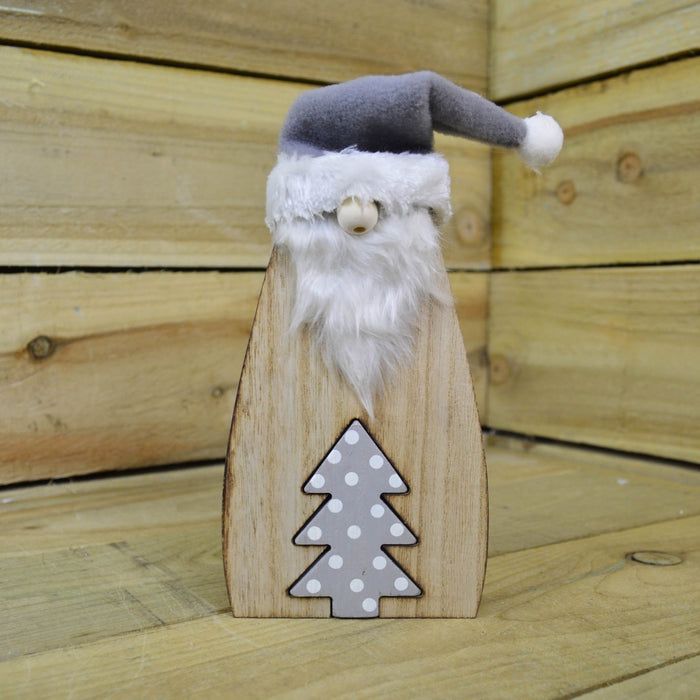 26cm Wooden Gonk Christmas Book End Ornaments - Grey Tree