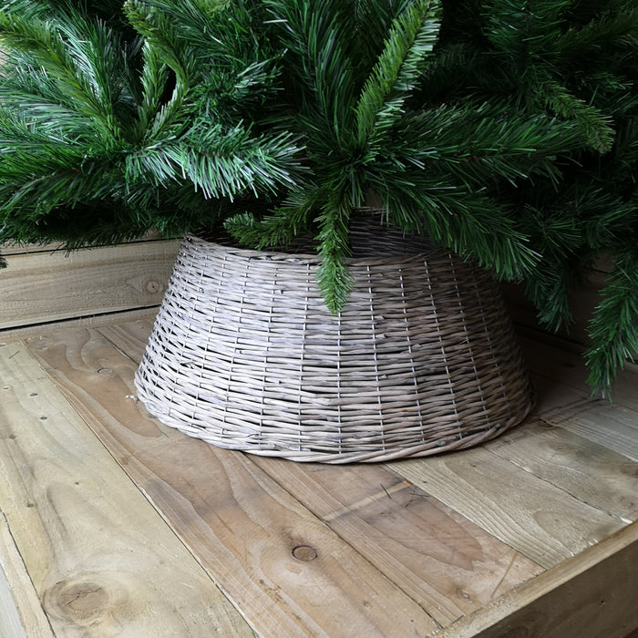 70CM X 28CM Willow Wicker Tree Skirt In Grey Wash Colour