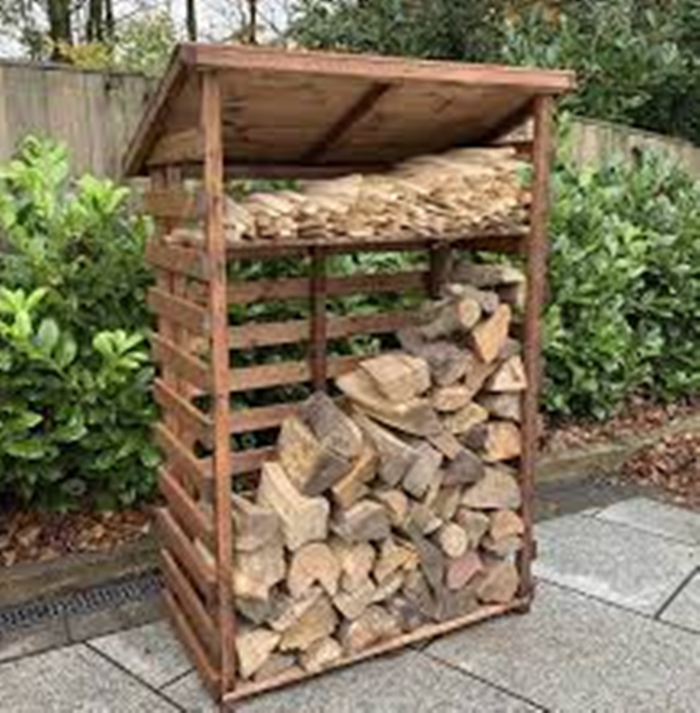 Hand Made Chunky Rustic Medium Wooden Sherwood Garden Log Store With Kindle Shelf