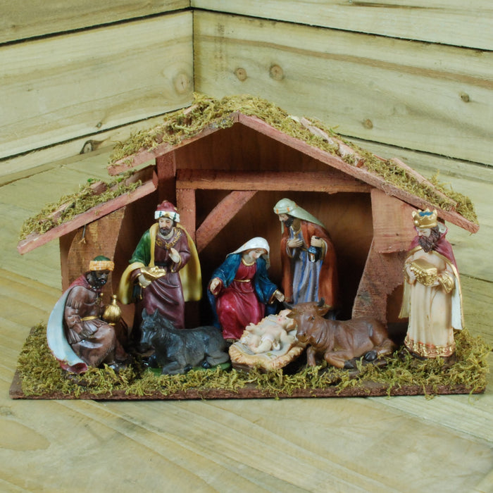39CM  X 22CM 8 Piece Hand Decorated Wooden Traditional Christmas Nativity Set