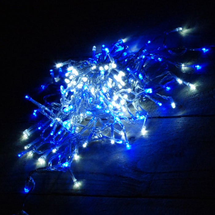 16m 200 LED Premier Outdoor Christmas Lights Blue & White on Clear Wire