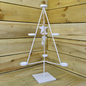 White Christmas Tree 7 Tealight Holder With Dangling White Stars