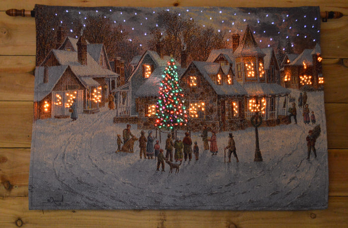 "36"" x 26"" Holiday Eve Fibre Optic Wall Hanging Christmas Tapestry Wall Decoration"