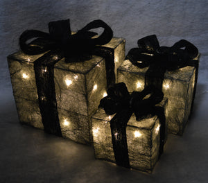 3 Piece Glitter Parcels with Bow & LED Lights In Various colours