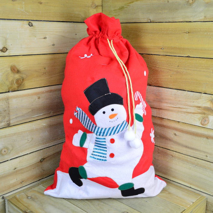 Christmas Felt Gift Bag Featuring Snowman Design