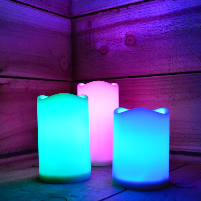 15cm Premier Set of 3 Battery Operated Multi Pastel Colour Changing LED Candles