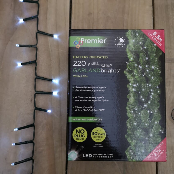 220 LED Premier Christmas Garland Brights For 2.7M Garland – Cool White