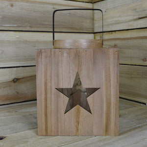 Koopman 22 x 26cm Wooden Lantern With Decorative Star Cut Outs And Glass Candle Holder - Cheaper-Online.co.uk