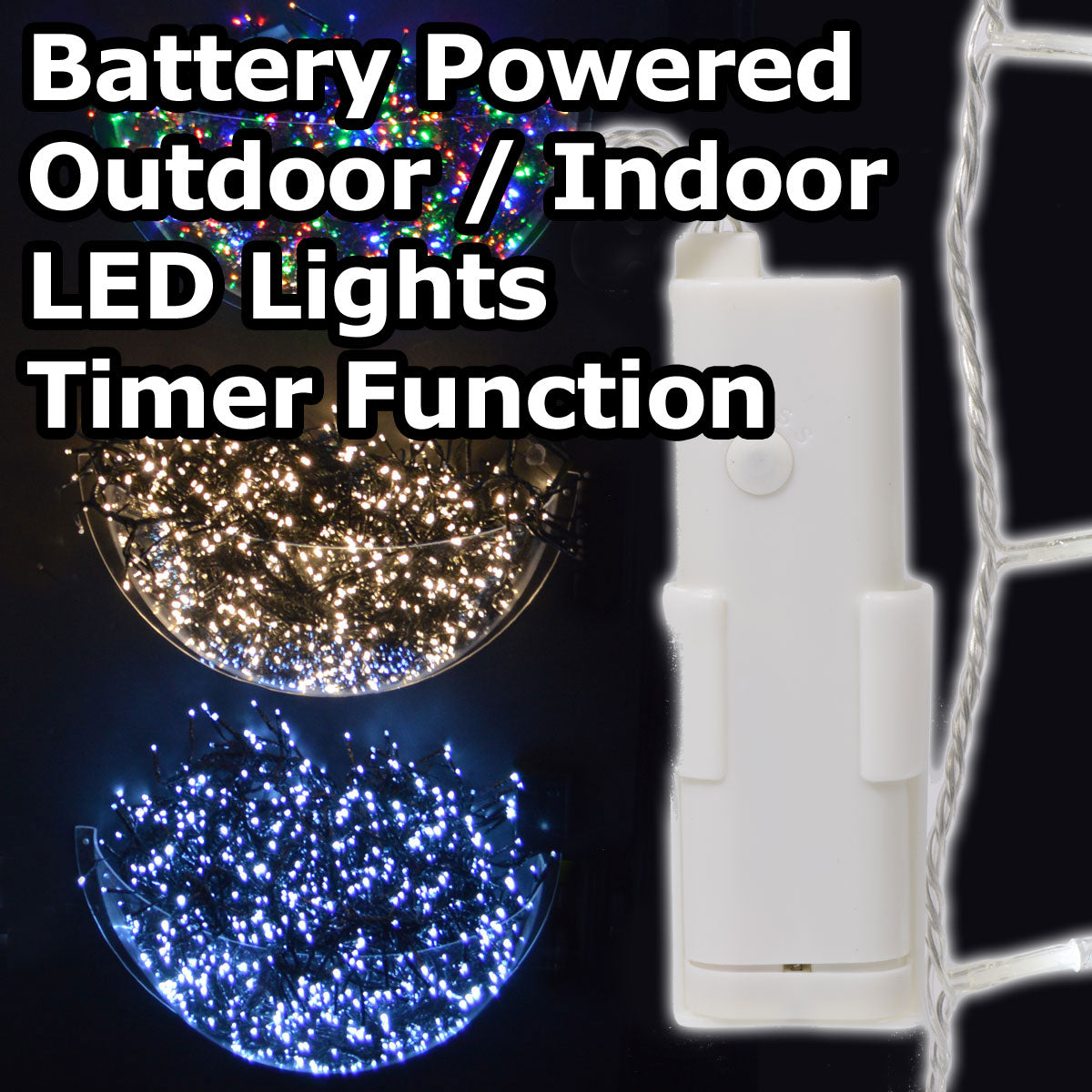 Battery Operated Outdoor Led Timer Christmas Lights On Clear Wire Cheaper Online Co Uk
