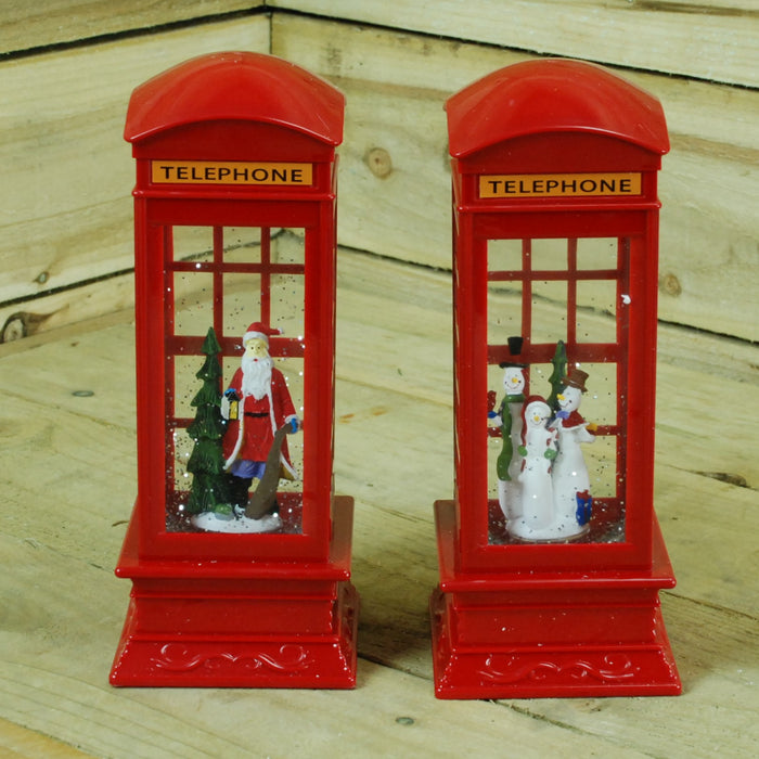 Telephone Box Glitter Water Spinner - Choose From Snowman Family Or Santa