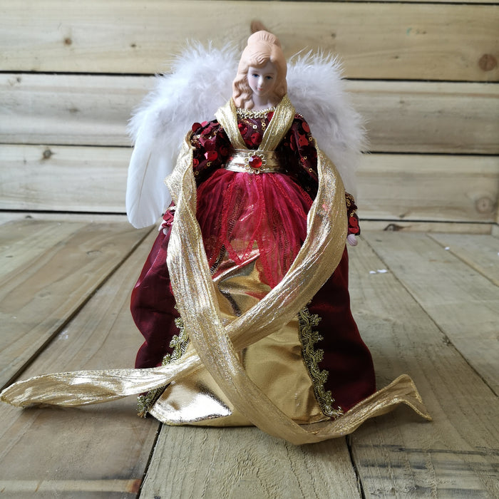 Premier 30cm Burgundy And Gold Angel Tree Topper With Feather Wings