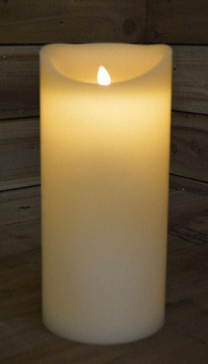 LARGE 33cm x 15cm Battery Operated Dancing Flame Candle with Timer in Cream