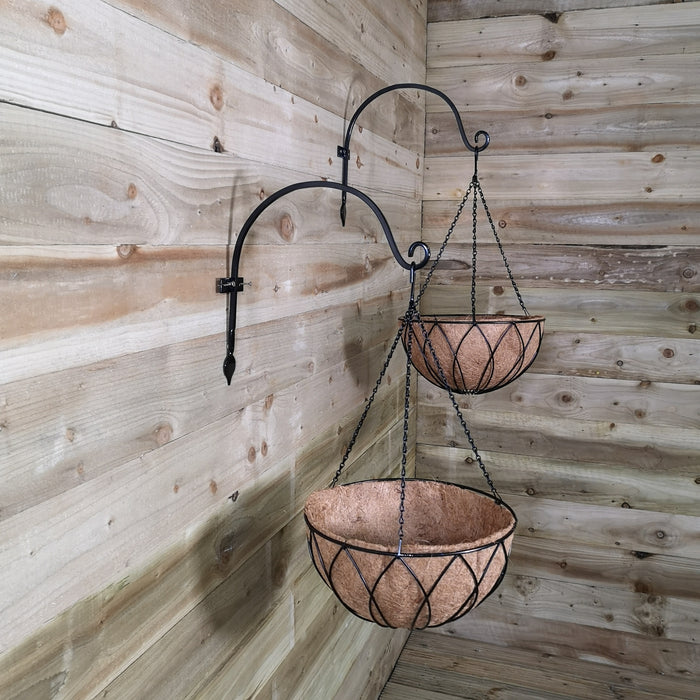 Pack of 2 Tom Chambers Black Lattice Metal Garden Hanging Basket with WaterSave Coco Fibre Liner 35cm - Without Bracket