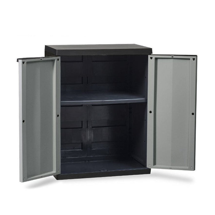 85cm x 65cm Plastic Indoor / Outdoor Garden Storage Cabinet Shed in Dark Grey