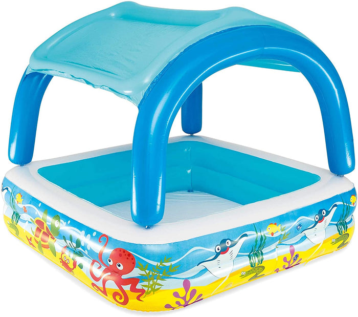 147cm x 147cm Bestway Sea Design Kids Play Paddling Pool with Removable Canopy