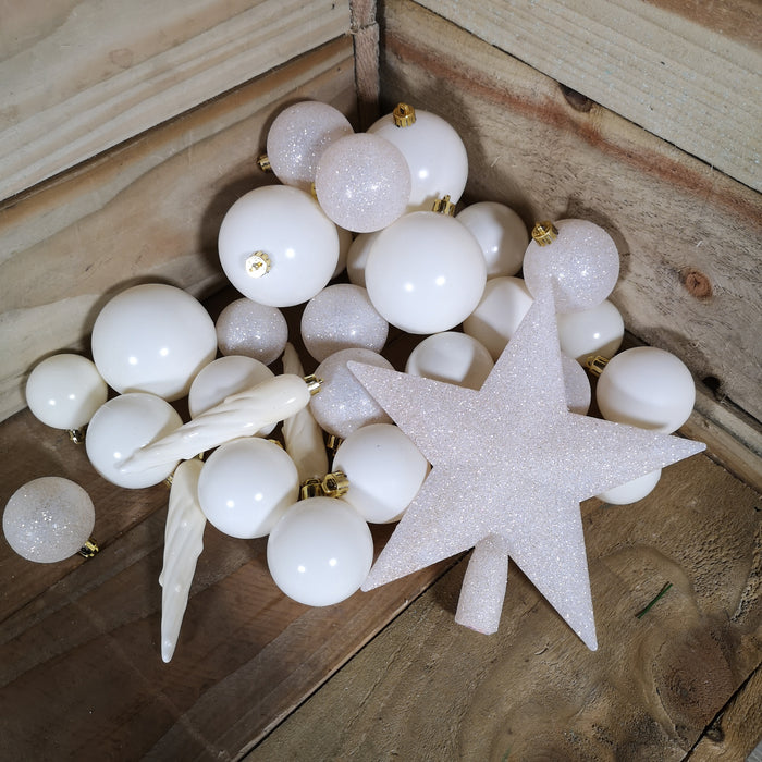 33 Assorted Shatterproof Christmas Baubles With Star Tree Topper - Wool White
