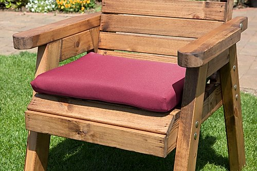 Charles Taylor Single Seater Wooden Chair Base Cushion In Burgundy